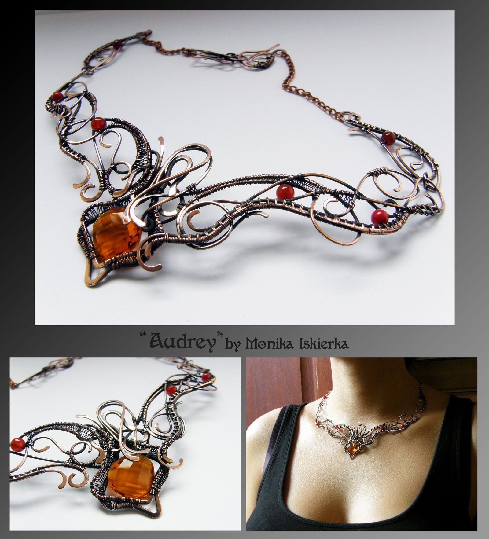 Audrey- wire wrapped copper necklace by mea00.deviantart.com on @deviantART