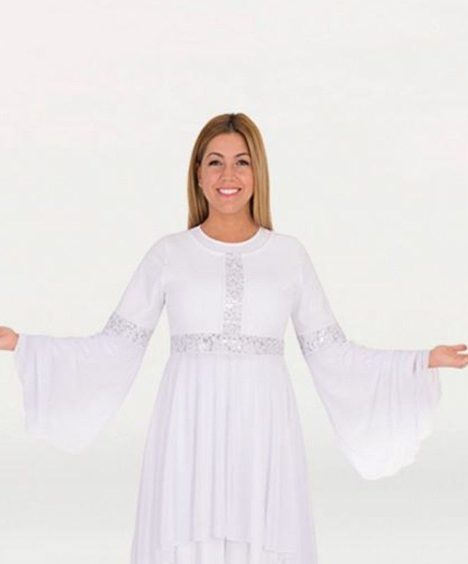 c63a3f6f3a83 Adult Drapey Lace Panel Tunic in 2019 | Praise Dance Tops | Lace ...