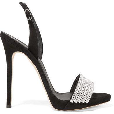 Giuseppe Zanotti - Crystal-embellished Suede Slingback Sandals - Black  #giuseppezanottiheelssandals