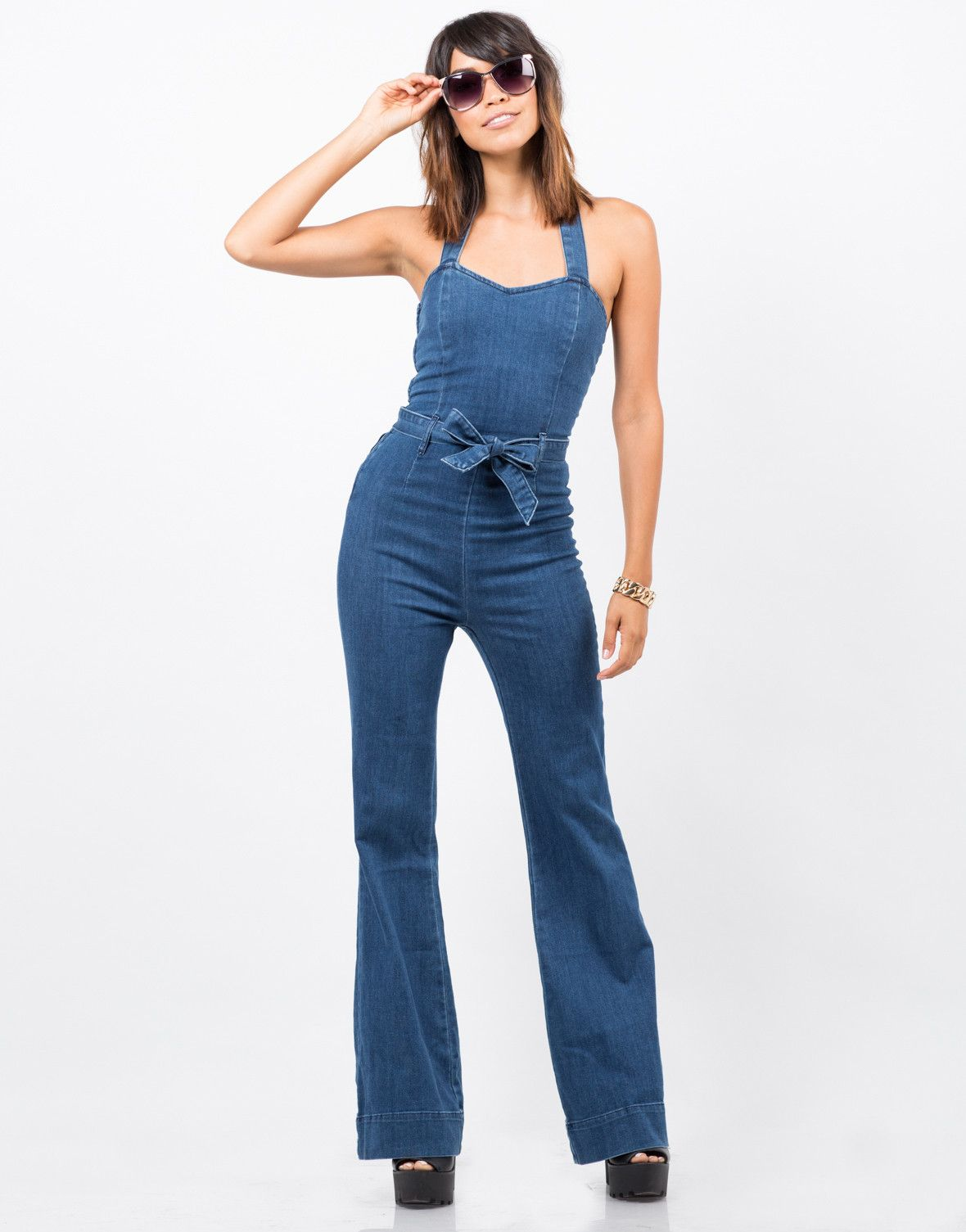 Flared Denim Jumpsuit | Blue, Denim jumpsuit and Flare