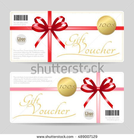 Gift card or gift voucher template with shiny red bows and ribbons - christmas gift vouchers templates