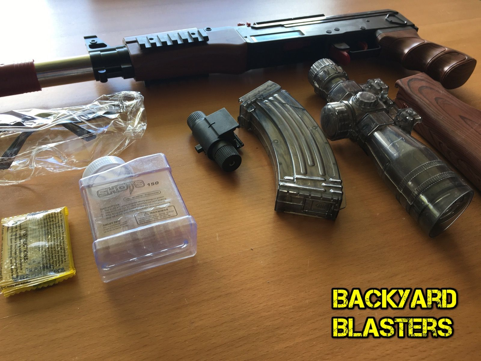 The AK47 Gel Ball Blaster before full assembly  | Backyard Blasters