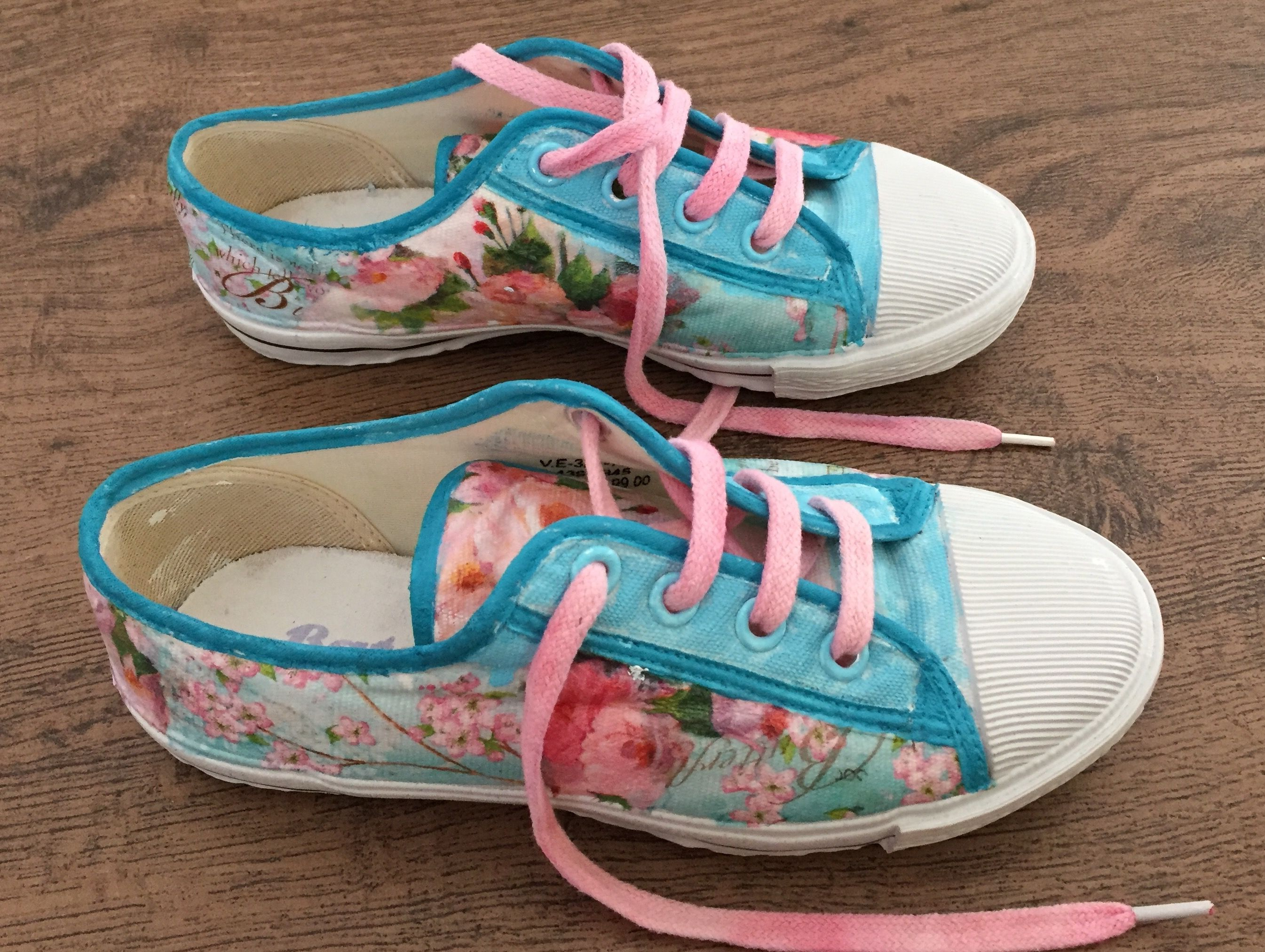Decoupaged canvas shoes