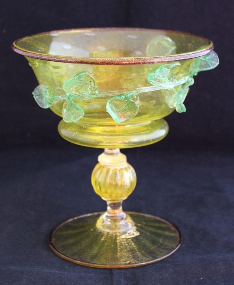 Gorgeous ANTIQUE SALVIATI MURANO VENETIAN ART GLASS yellow compote ...