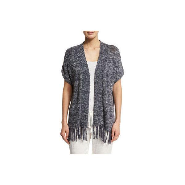 Joie Sona Fringe-Hem Linen/Cotton Cardigan ($100) ❤ liked on Polyvore featuring tops, cardigans, stingray multi, fringe cardigan, short sleeve cardigan, linen cardigan, cotton cardigan and slim fit cardigan