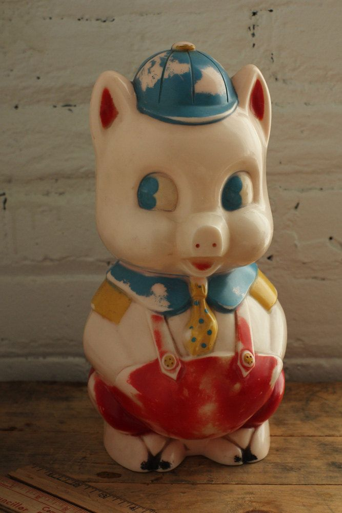 Vintage Piggy Bank From Reliable Rare Plastic Childrens Bank Etsy Piggy Bank Piggy Pig Bank