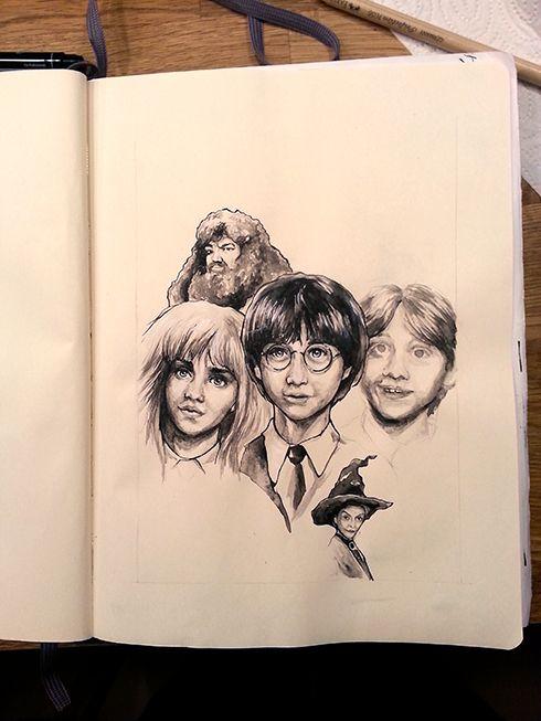 Harry Potter Harry Potter Ink Akvarel Aquarelle Drawing