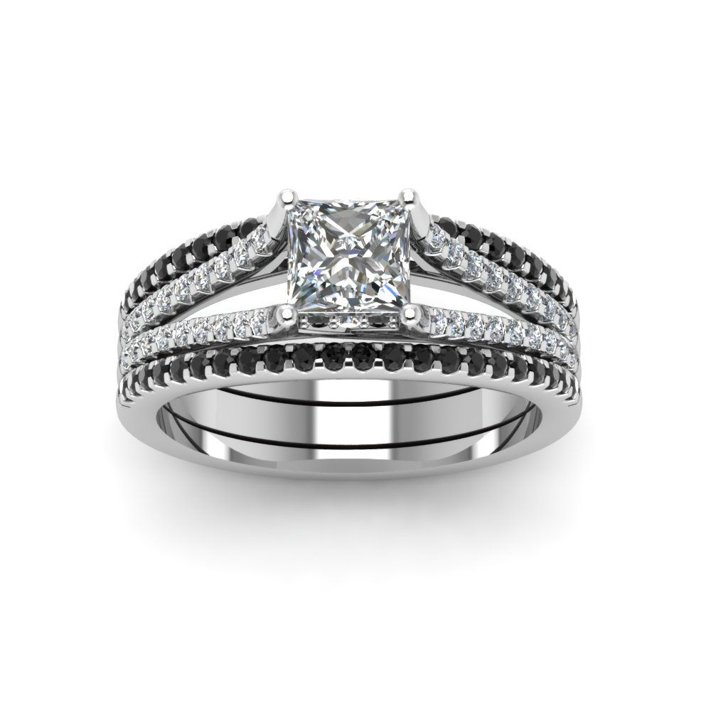 Split band trio bridal sets for women black diamonds princess cut