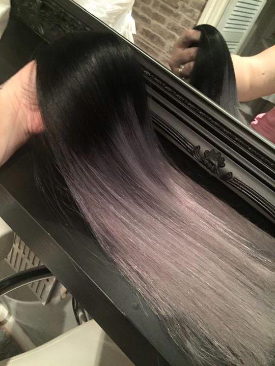 Custom dip dye On our Grey pre bonded Brazilian hair