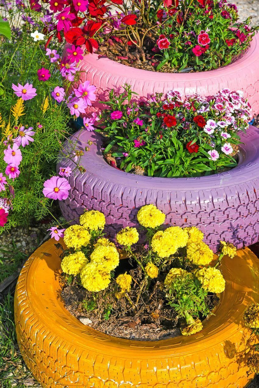 Amazing DIY flower beds made of old tires – Great ideas to boost your garden #flowerbeds