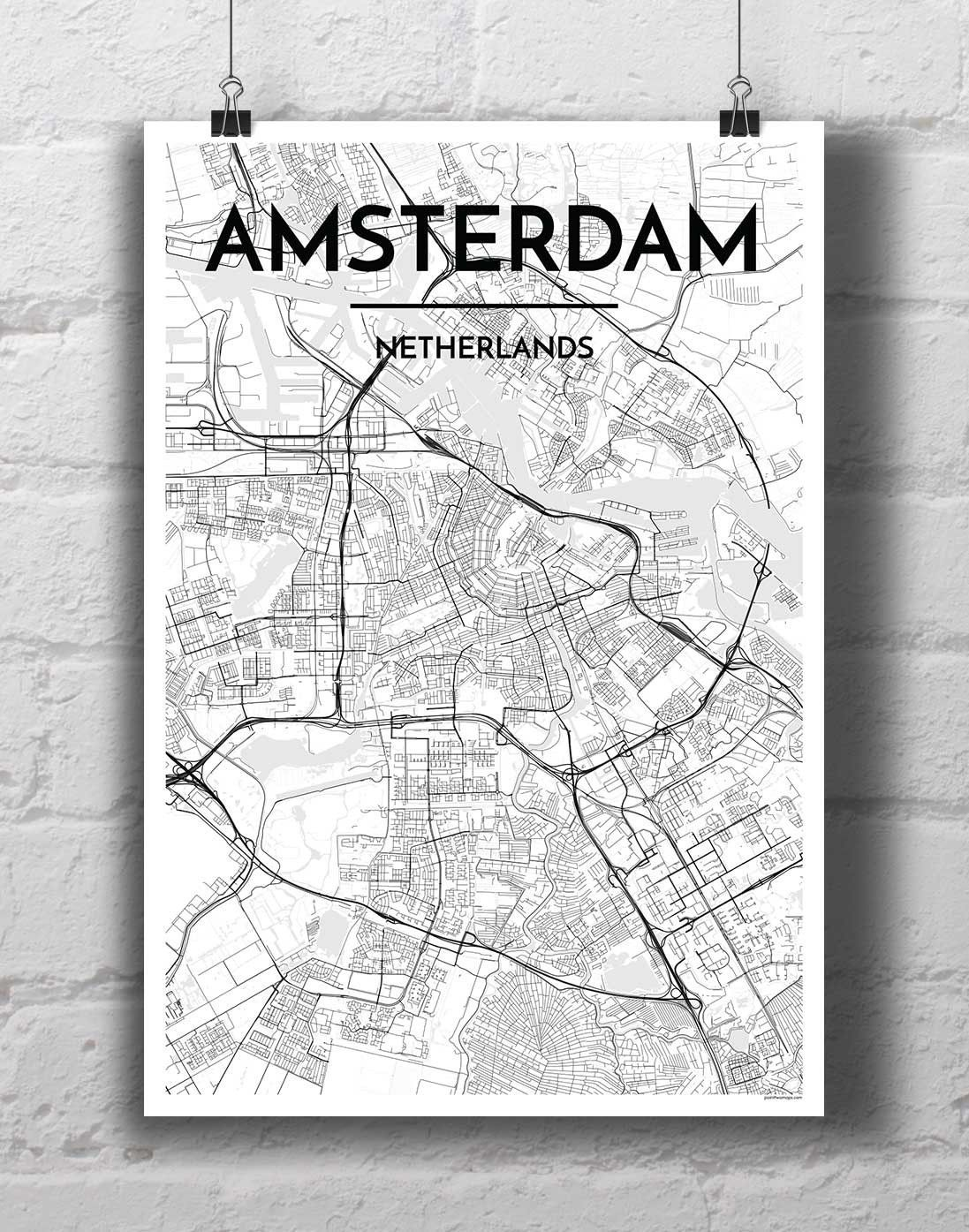 Amsterdam Map Art Print Amsterdam City Map Amsterdam Map Amsterdam Map Art