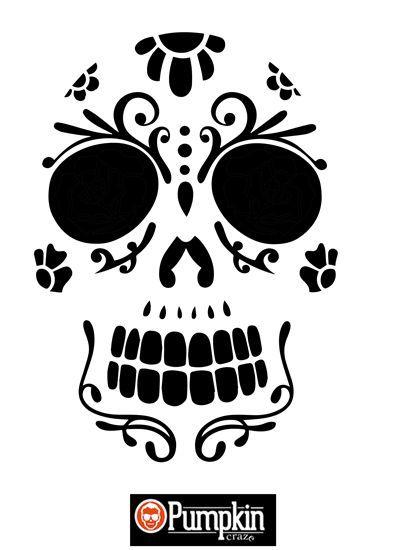 Sugar Skull 4 | Free pumpkin patterns, Sugar skull pumpkin and ...