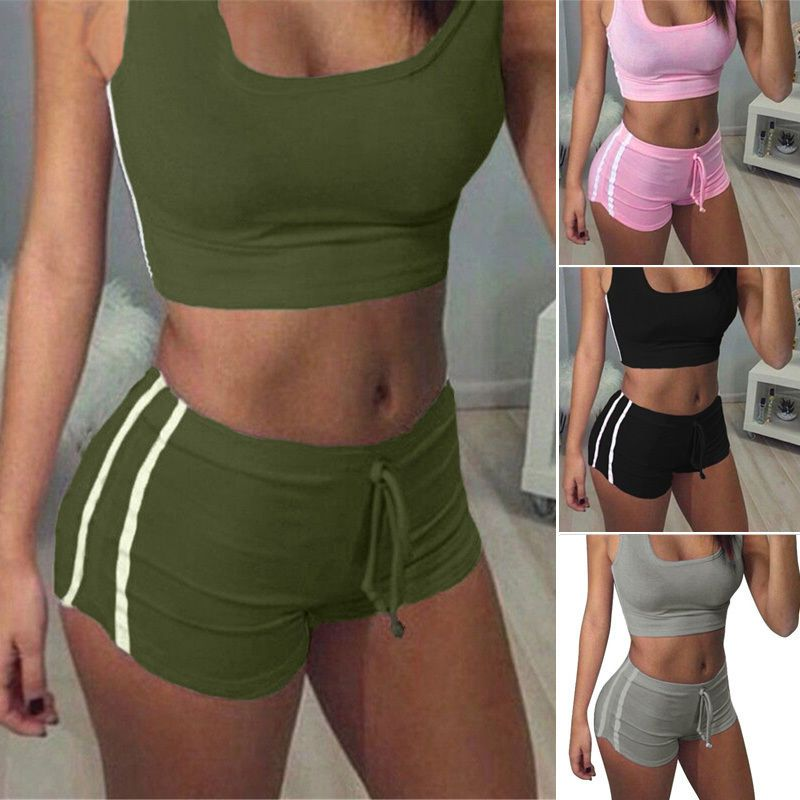 2pcs Women Gym Yoga Fitness Sport Bra Crop Tank Top Vest+Shorts Tracksuit Set