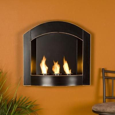 Southern Enterprises Arch 27 In Wall Mount Gel Fuel Fireplace In Matte Black With Copper Distressing Fa5807 The Home Depot Wall Mounted Fireplace Wall Mount Fireplace Gel Fireplace