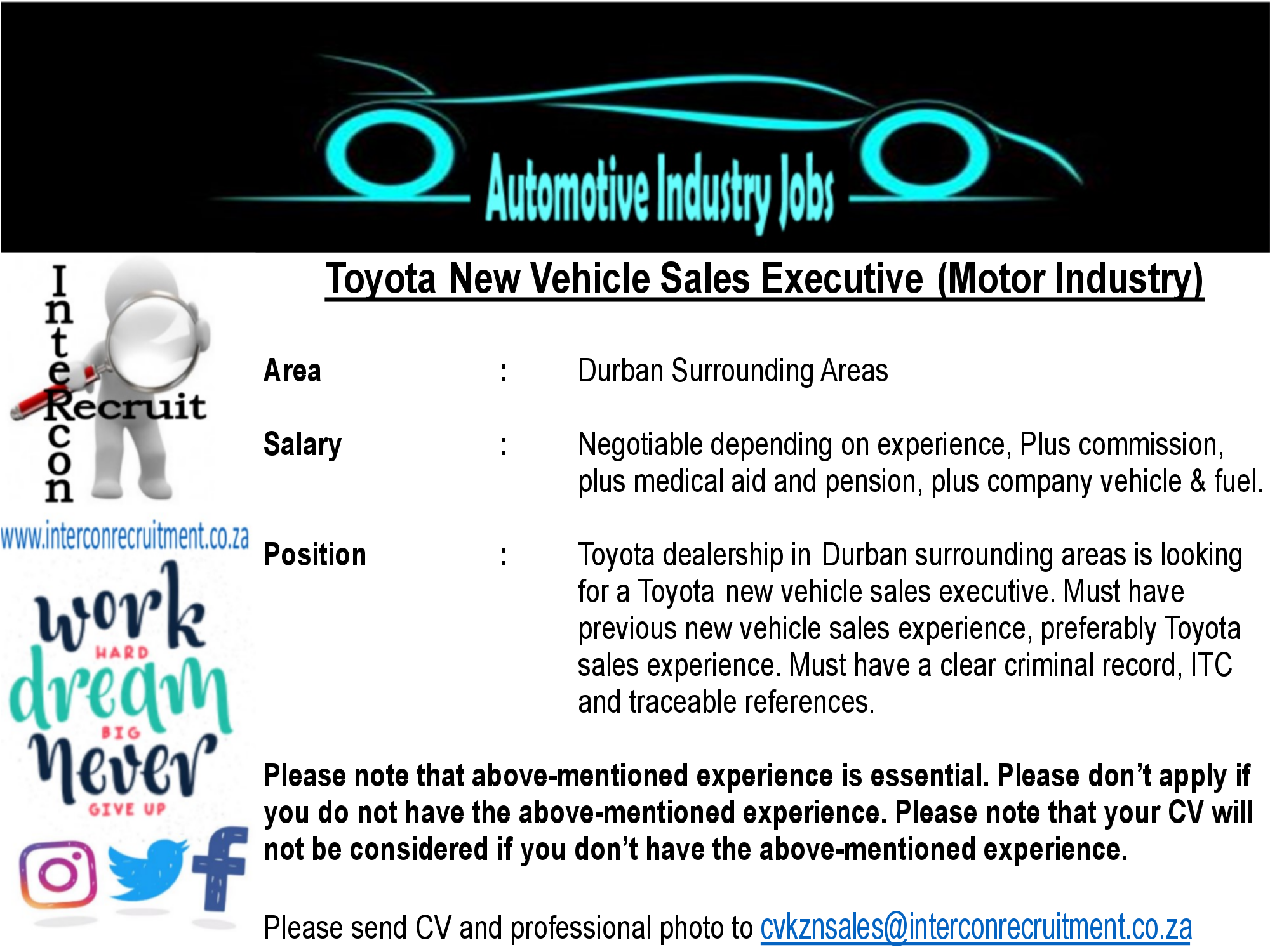 Toyota New Vehicle Sales Executive (Motor Industry