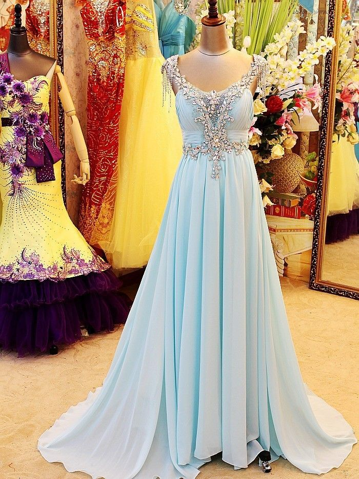 Real Image Luxurious Light Sky Blue V Neck Floor Length Open Back Beading  Crystal Evening Dresses Prom Dresses Plus Size f6f0dc5e2880