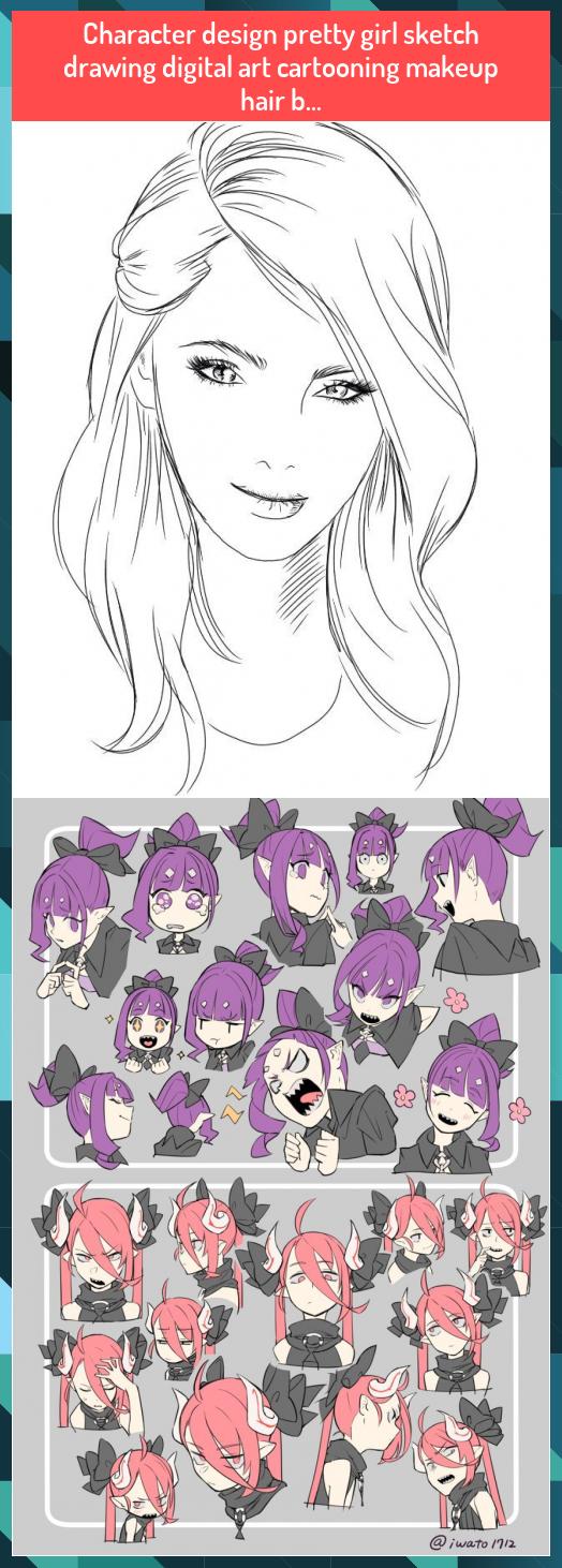 Character design pretty girl sketch drawing digital art cartooning makeup hair b... #Character #design #pretty #girl #sketch #drawing #digital #art #cartooning #makeup #hair #b...