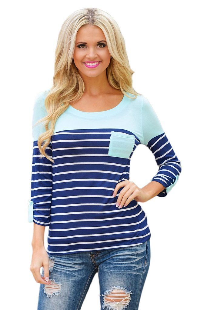 86d7ceeed1a849 Mint Green Shoulder Blue & White Striped Knit Top #fashionfallfashion  #falltops #shopstyle #shopmycloset #fashion #tops #topshop  #ladylailaboutique