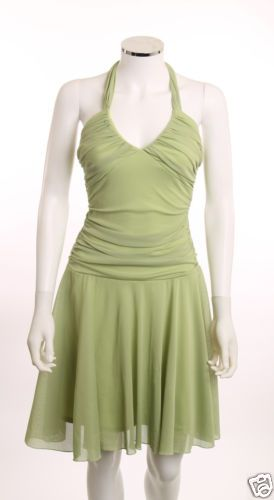 TEEZE ME RUCHED BODICE FULL SKIRT LIME GREEN POLY MESH LINED HALTER DRESS SZ S