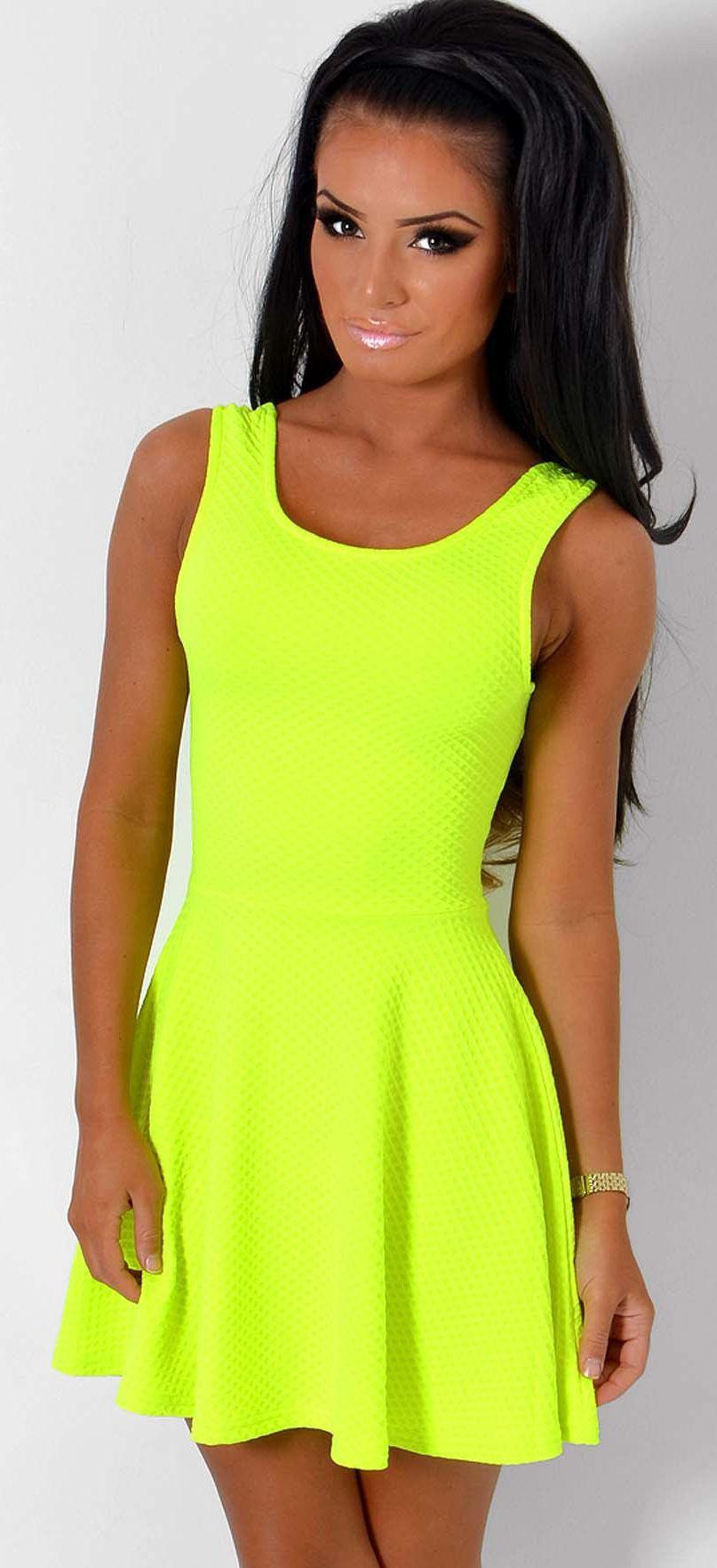 Rawena Neon Lime Super Stretch Skater Dress