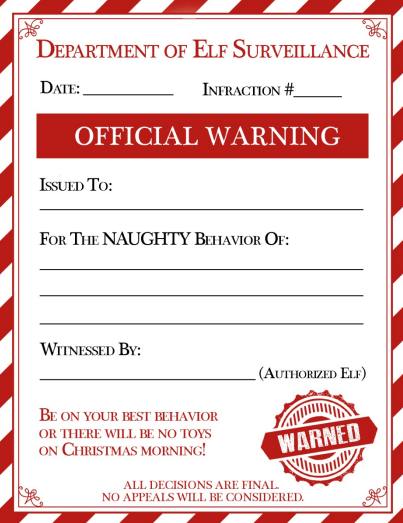 photo about Miranda Warning Card Printable referred to as The Elf Upon The Shelf Caution Notice All Moms and dads Want