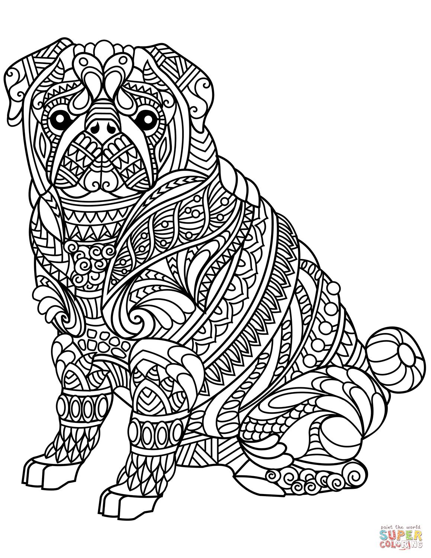 pug dog zentangle coloring page | free printable coloring