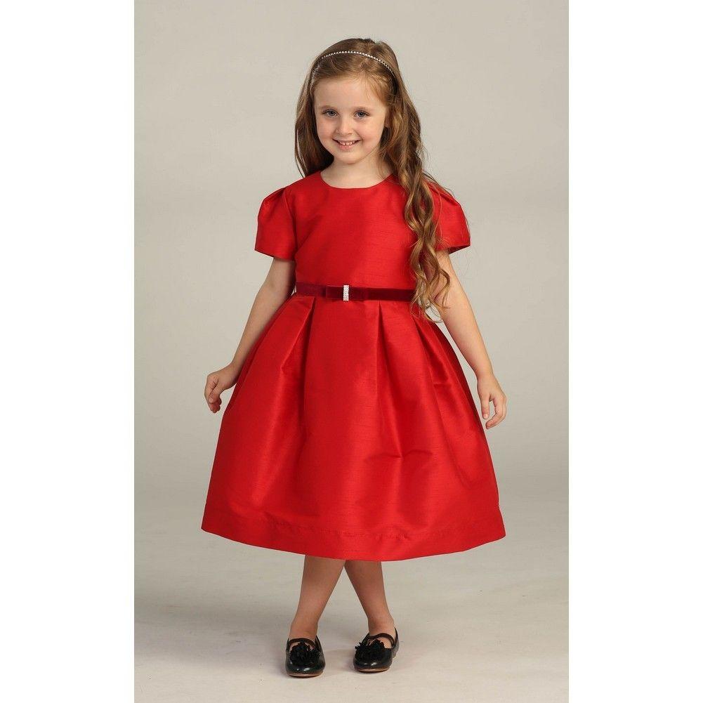 angels garment girls velvet ribbon brooch red christmas dress 5 10 - Red Christmas Dresses