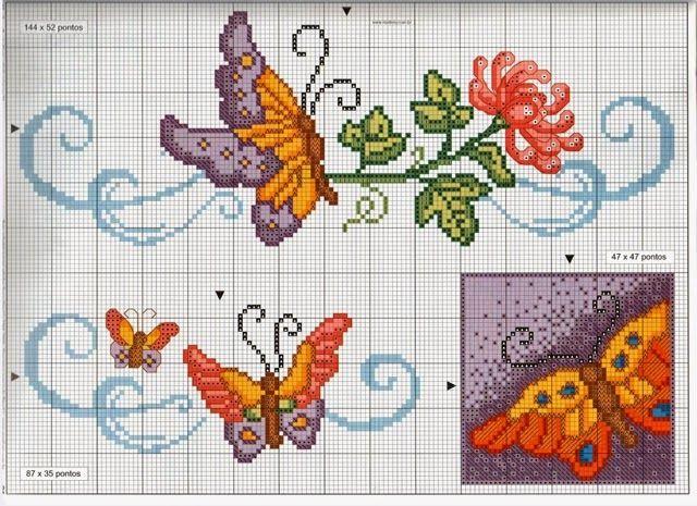Risultati immagini per schemi di farfalle a punto maglia for Farfalle a punto croce per bambini