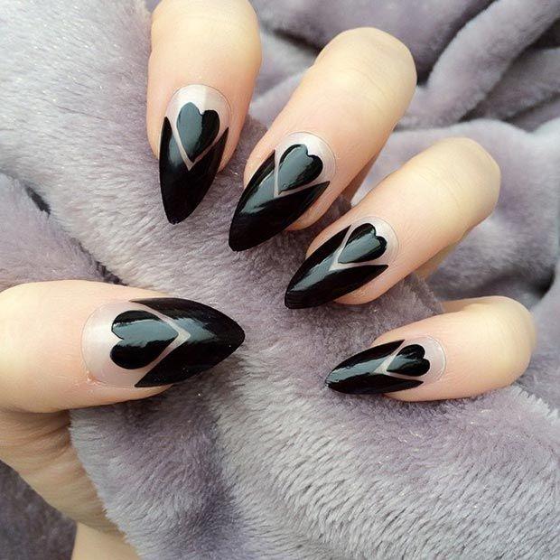 Black Hearts + Negative Space Stiletto Nails