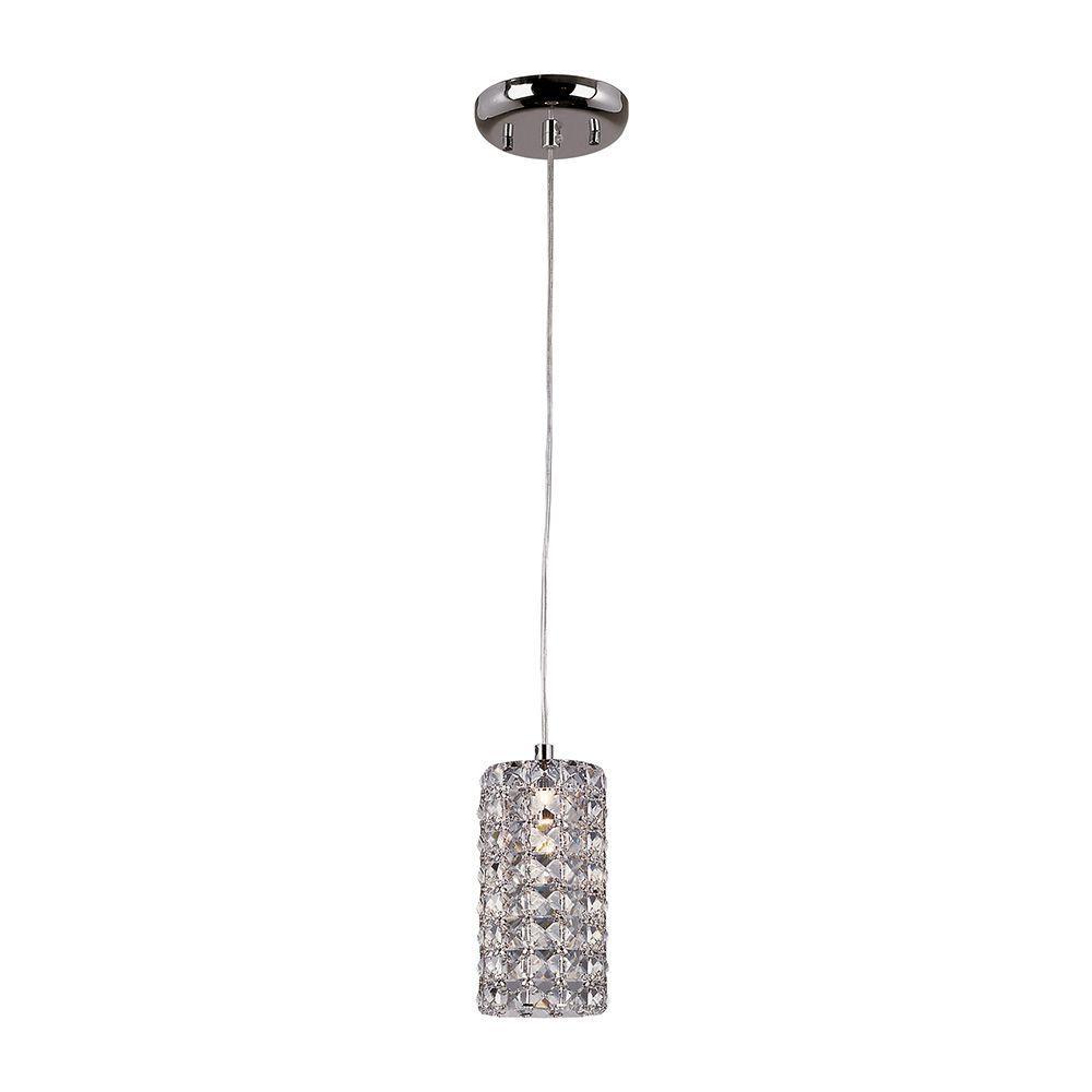 Monteaux Lighting 1 Light Crystal And Chrome Mini Pendant 0311 Ndm The Home Depot Mini Pendant Bel Air Lighting Crystal Pendant Lighting
