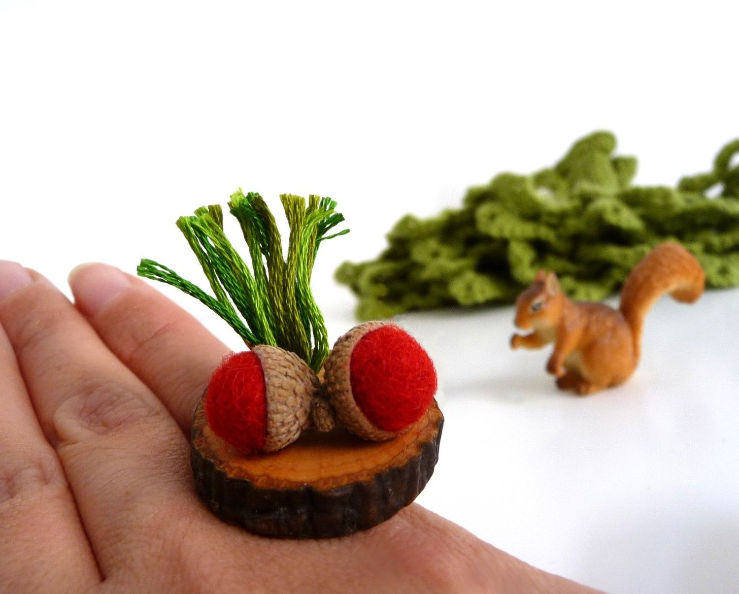 Adjustable Wood Slice Ring with Felt Red Acorns - ACORN WOODLAND by ixela on Etsy https://www.etsy.com/listing/67059067/adjustable-wood-slice-ring-with-felt-red