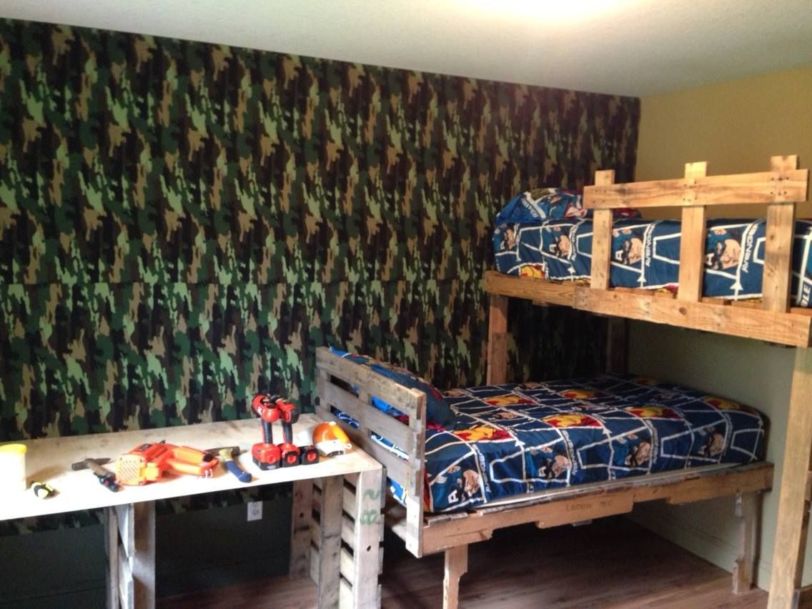 Boys Bunk Beds And Room Makeover Beds And Desk Made From Pallets