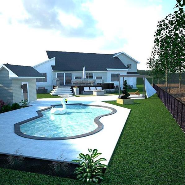 Plan d\'aménagement extérieur 3D. Inspiration cours arrière ...