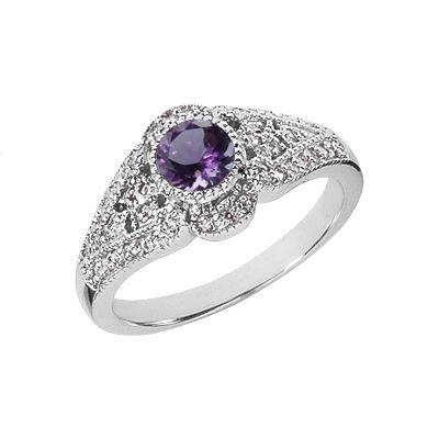 ApplesofGold.com - Art Deco Amethyst and Diamond Ring, 14K White Gold Gemstone Jewelry $825.00