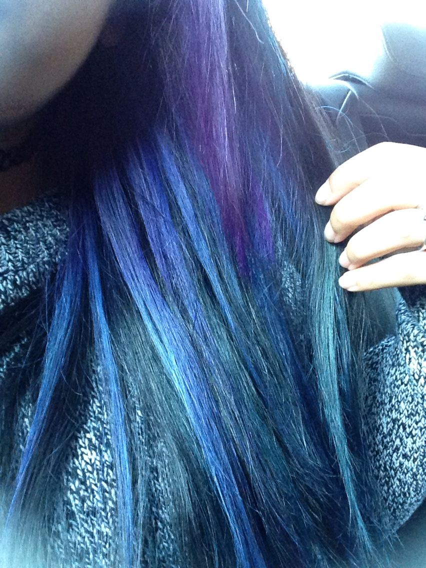 Blue and purple highlights on bottom half hair. | Hair | Pinterest ...