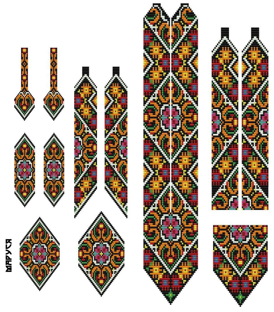 Плетение браслетов бисером кирпичная схема