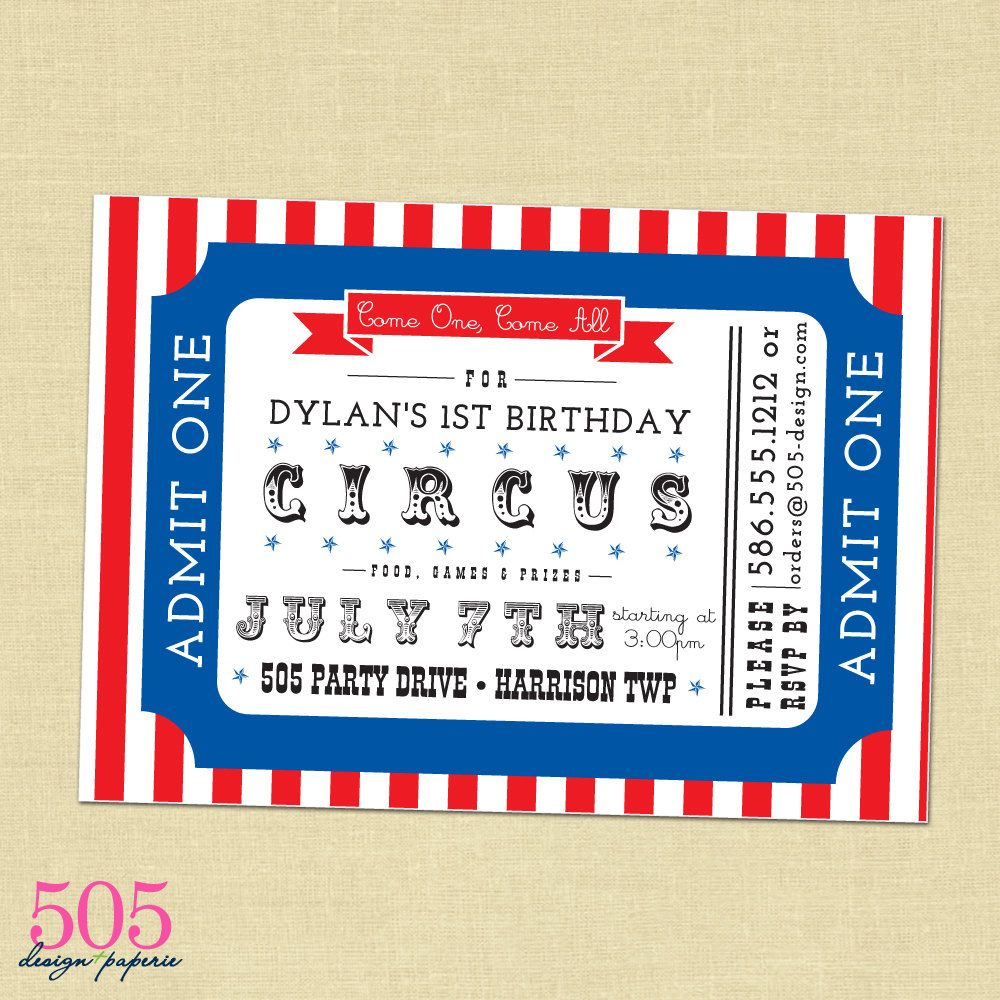 Printable Circus Invitation by 505 Design Paperie - Circus Birthday ...