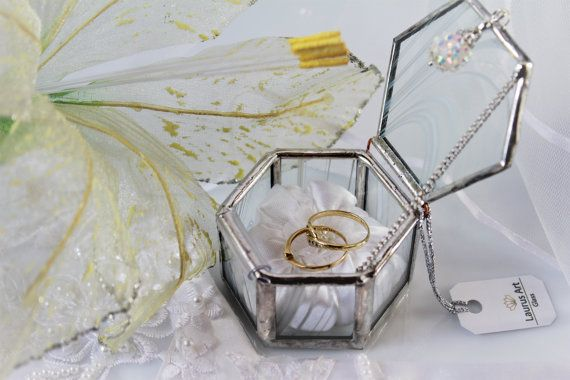 Unique Wedding Gift Set Heirloom Quality Gl Ring Box And A Wall Cross Silvery Bearer Decor Handmade Gifts