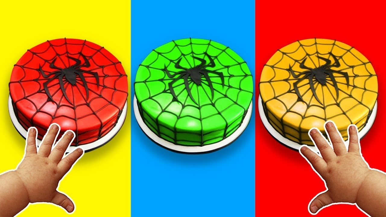 Learn Colors with Spiderman Birthday Chocolate Cakes | Learn Color ...
