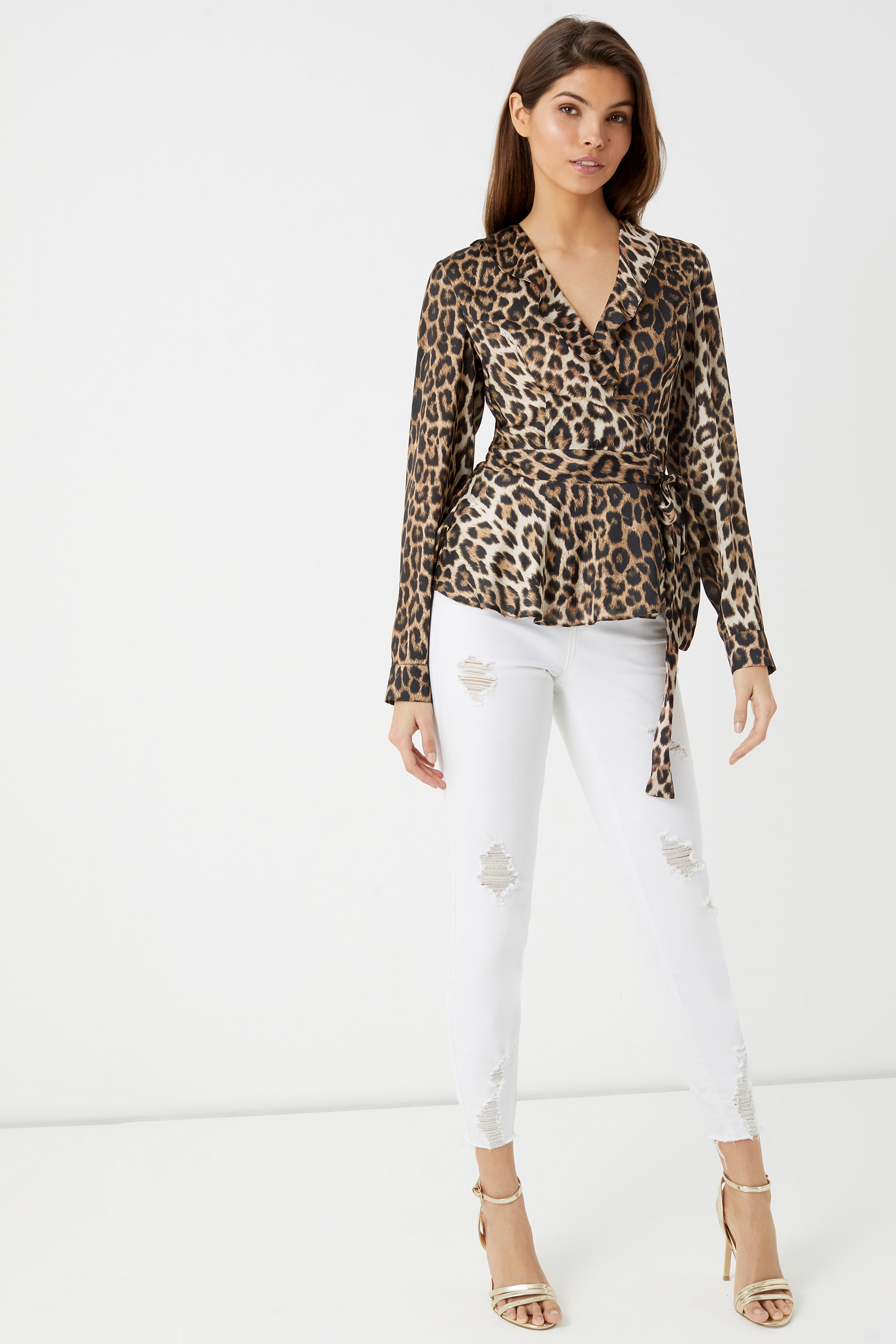 a7a8e62c628 Womens Lipsy Satin Leopard Wrap Top - Brown in 2019