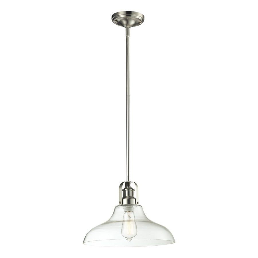 Lowes Pendant Lighting Mesmerizing Shop Zlite Forge 13In W Brushed Nickel Pendant Light With Clear