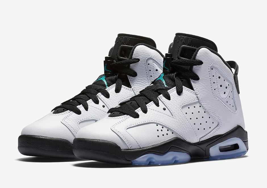 be0291858912 Air Jordan 6 GS White Black Aqua Jade 384665-122