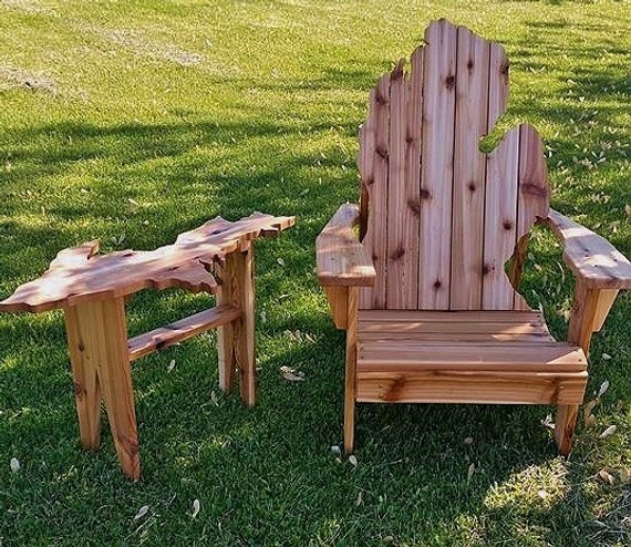 Michigan Adirondack Chair With U.P. Side Table ~ For Pick Up Only
