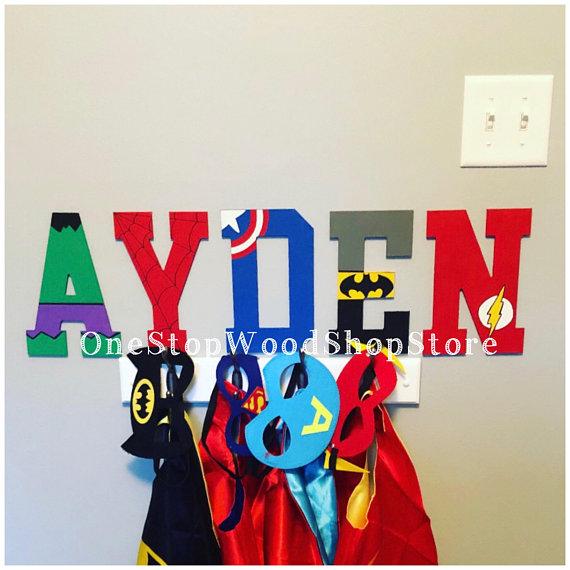 Super hero gift Nursery Batman kids print set x 3 Alphabet