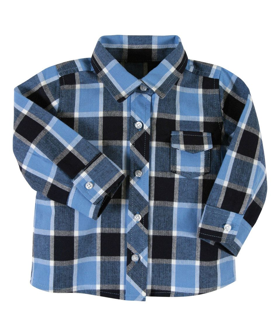Take a look at this Blue & Black Plaid Flannel Button-Up - Infant today!