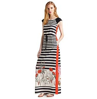 Ivy & Blu Striped And Floral Print Maxi Dress at www.younkers.com