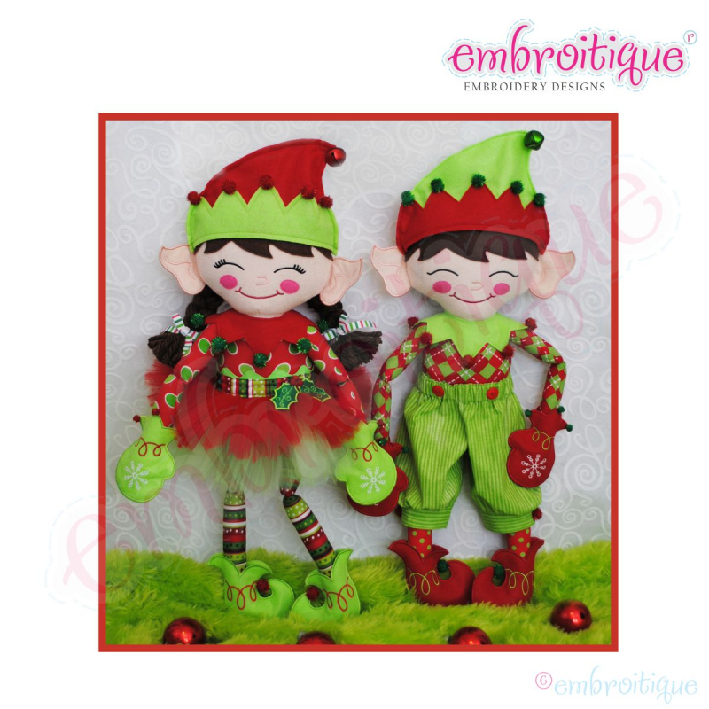 Christmas Elf Doodley Doll Main Pattern - Used to create Elfis & Elfira - Embroitique