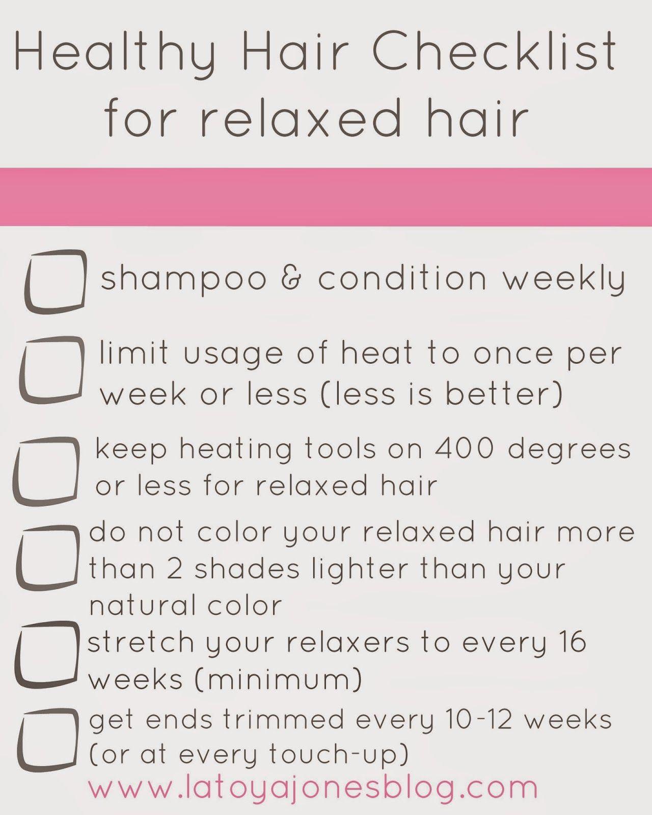 Healthy Hair Checklist (for relaxed hair) Relaxed hair