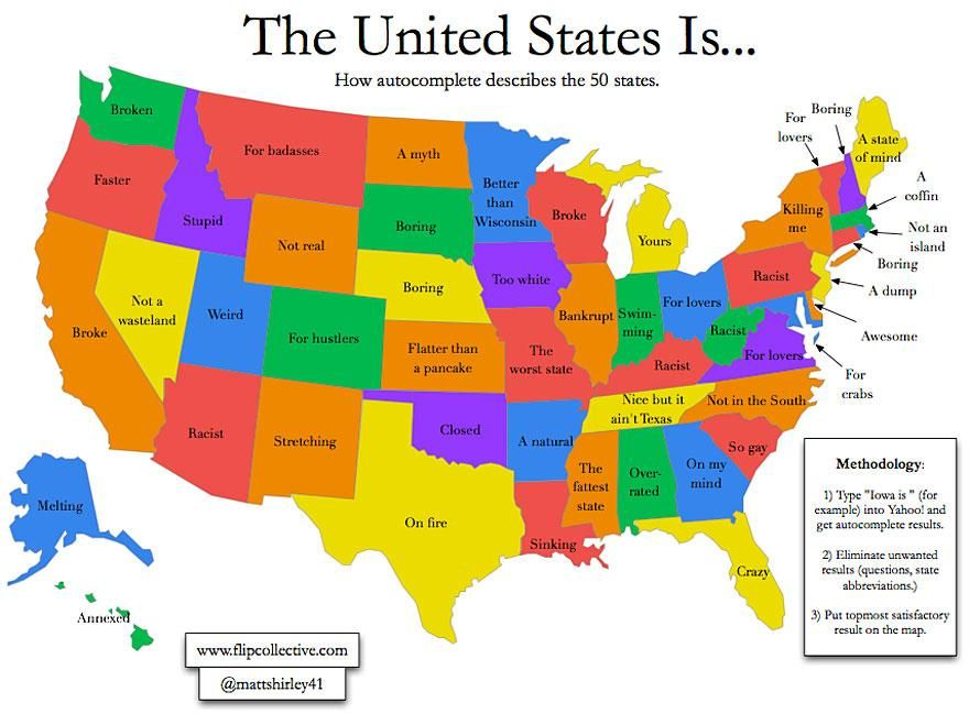 Maps That Will Challenge What You Thought You Knew About The World - United states map with state names and abbreviations