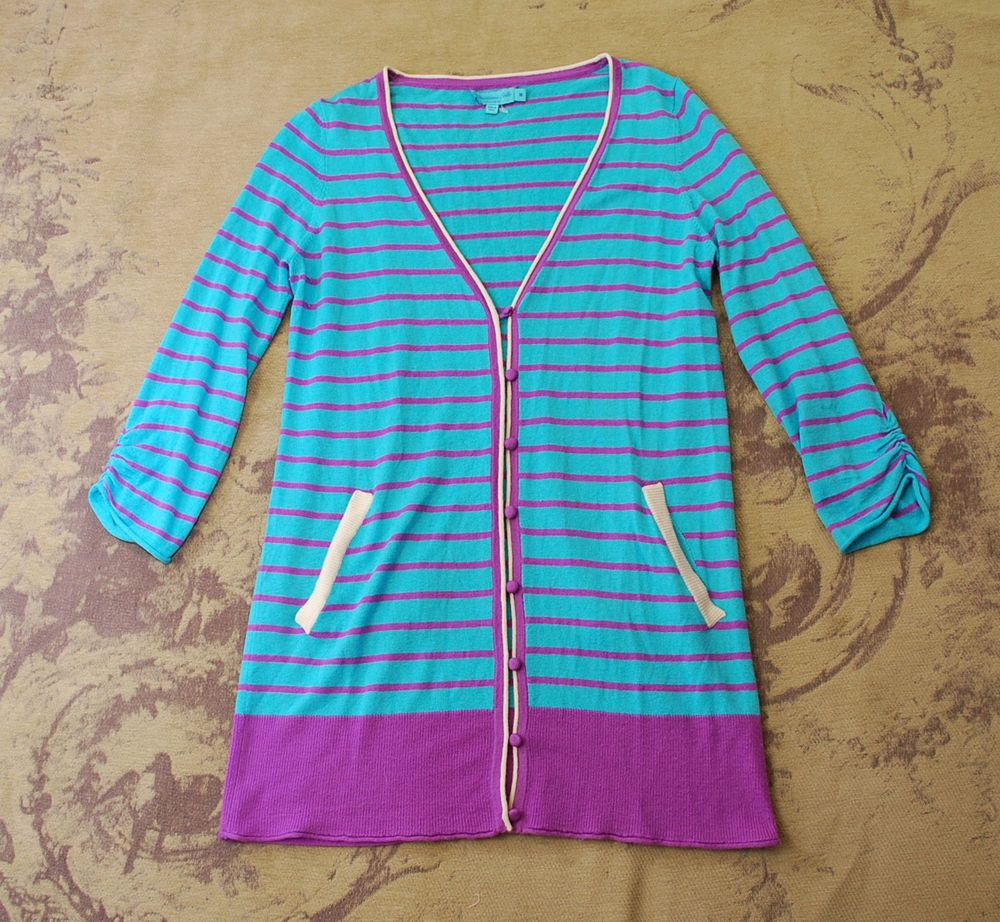 Calypso st. barth blue purple striped 100% cashmere boyfriend ...